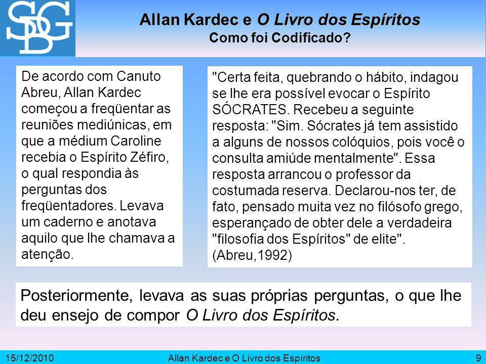15/12/2010Allan Kardec e O Livro dos Espíritos9 Como foi Codificado? De acordo com Canuto Abreu, Allan Kardec começou a freqüentar as reuniões mediúni