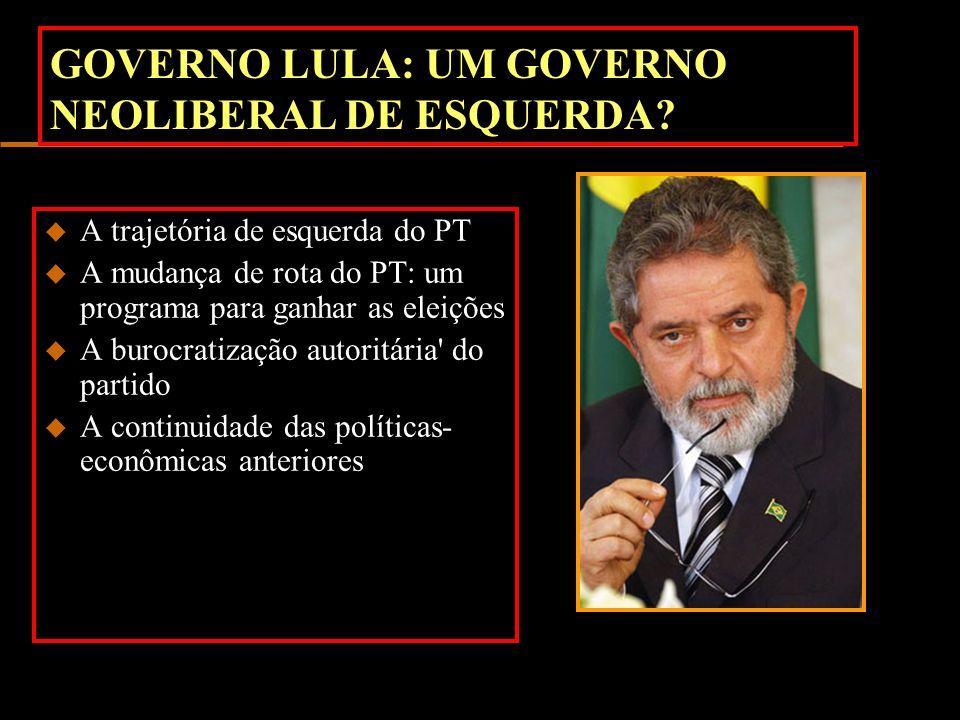 GOVERNO LULA: UM GOVERNO NEOLIBERAL DE ESQUERDA? u A trajetória de esquerda do PT u A mudança de rota do PT: um programa para ganhar as eleições u A b