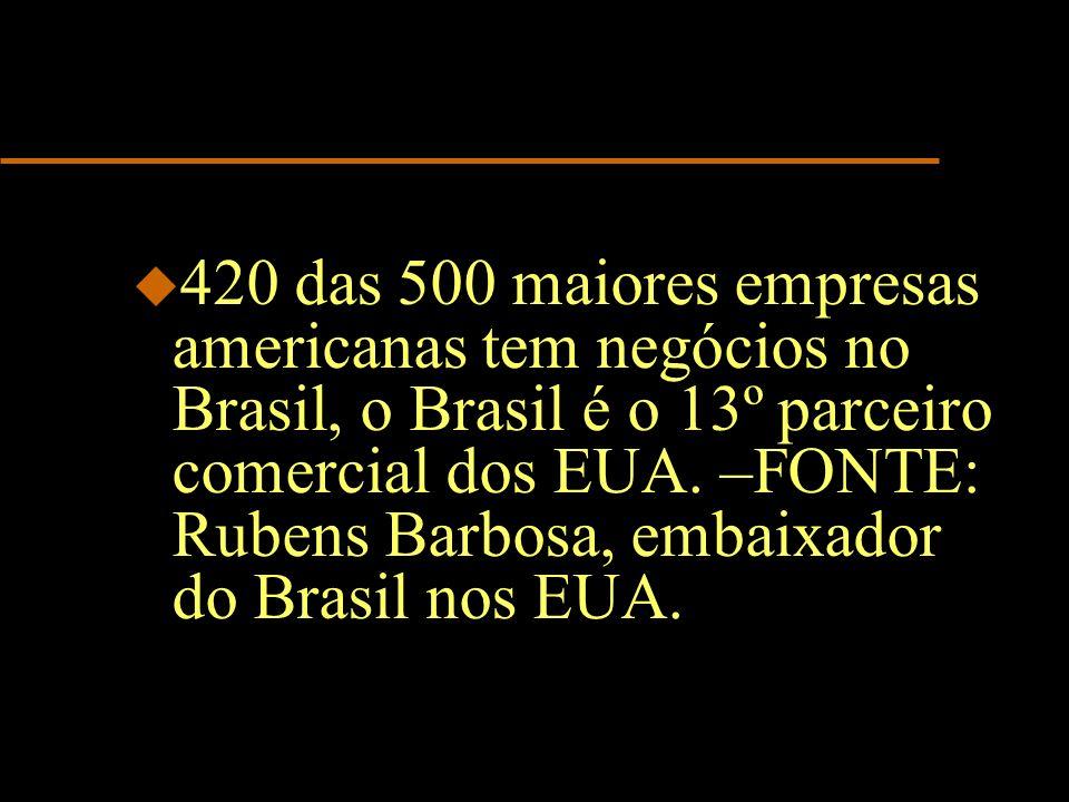 u 420 das 500 maiores empresas americanas tem negócios no Brasil, o Brasil é o 13º parceiro comercial dos EUA. –FONTE: Rubens Barbosa, embaixador do B