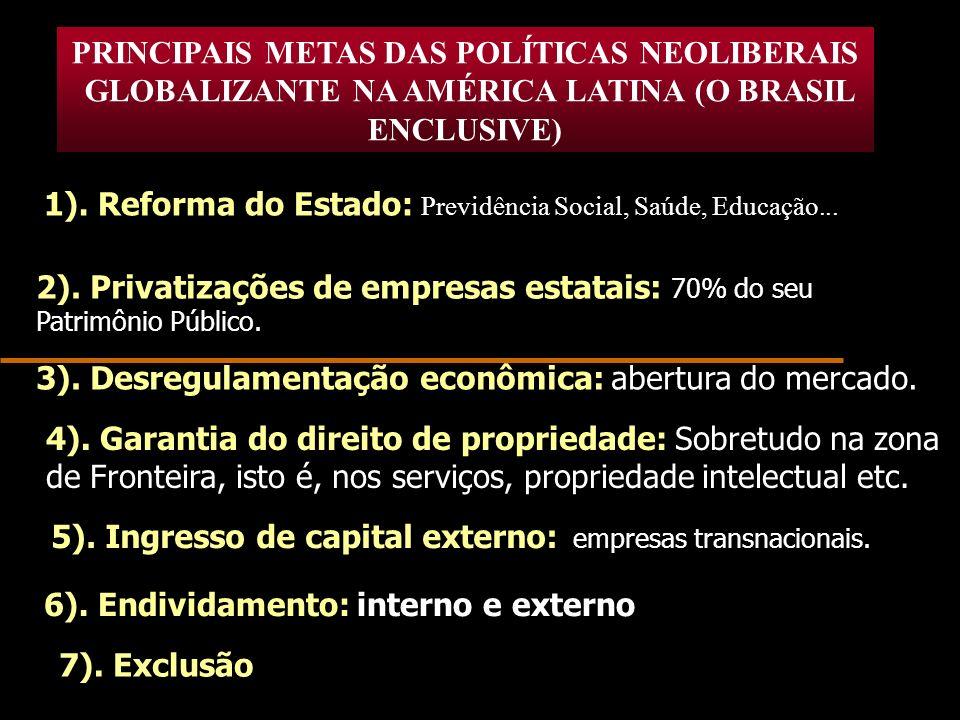 PRINCIPAIS METAS DAS POLÍTICAS NEOLIBERAIS GLOBALIZANTE NA AMÉRICA LATINA (O BRASIL ENCLUSIVE) 1). Reforma do Estado: Previdência Social, Saúde, Educa