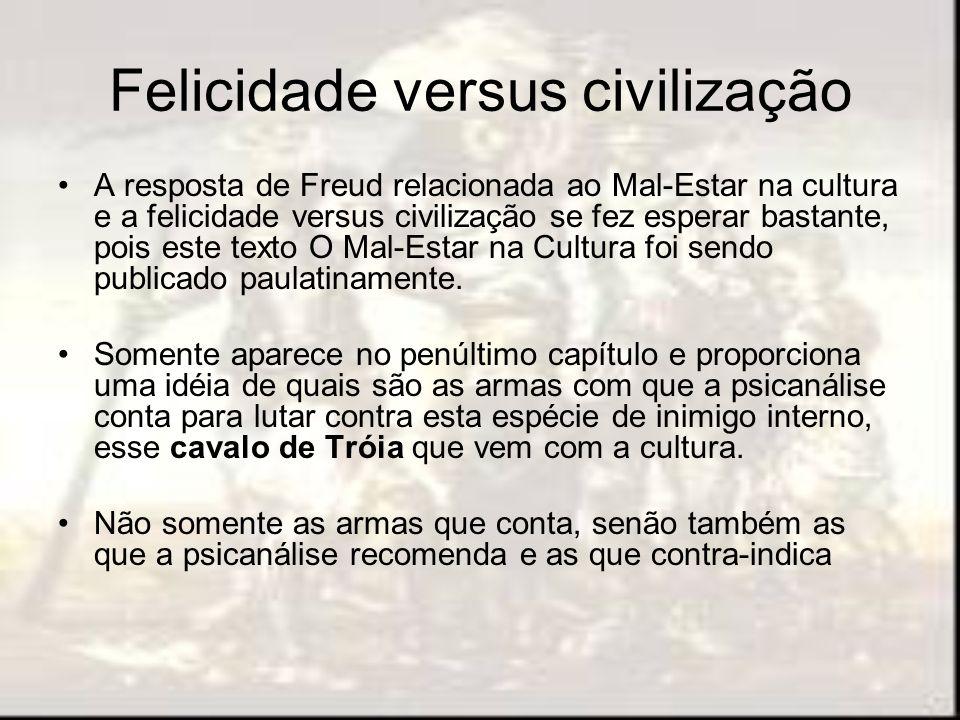 Felicidade versus civilização A resposta de Freud relacionada ao Mal-Estar na cultura e a felicidade versus civilização se fez esperar bastante, pois