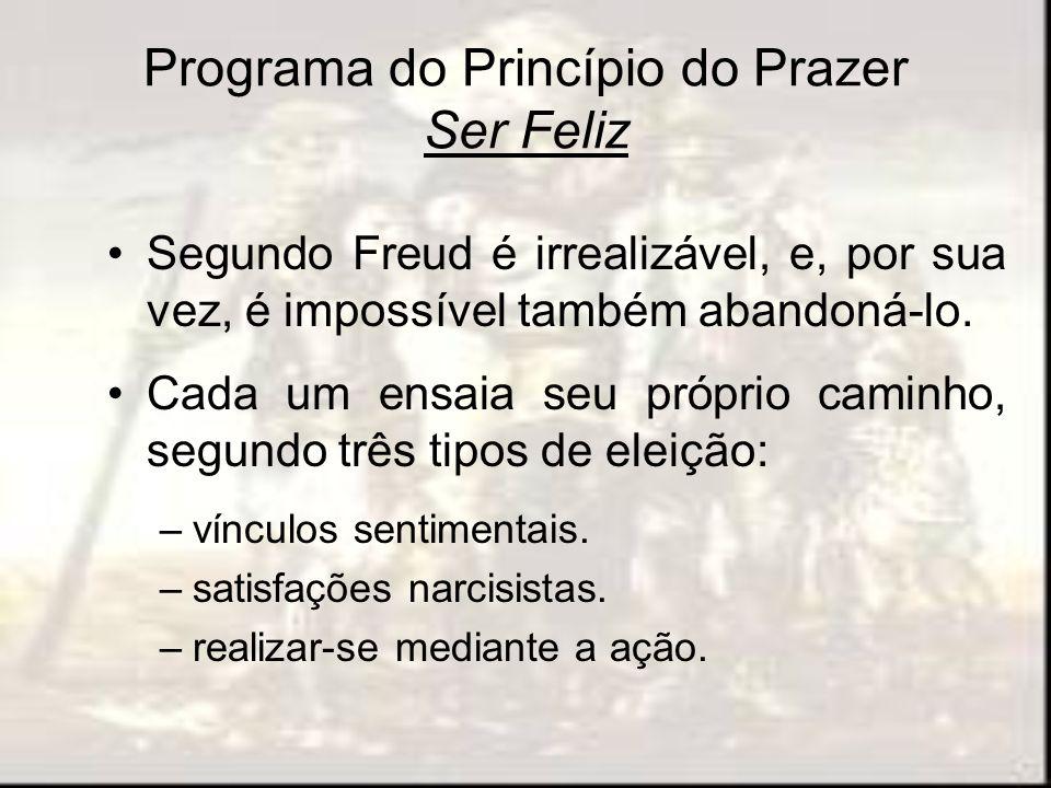 Programa do Princípio do Prazer Ser Feliz Segundo Freud é irrealizável, e, por sua vez, é impossível também abandoná-lo. Cada um ensaia seu próprio ca