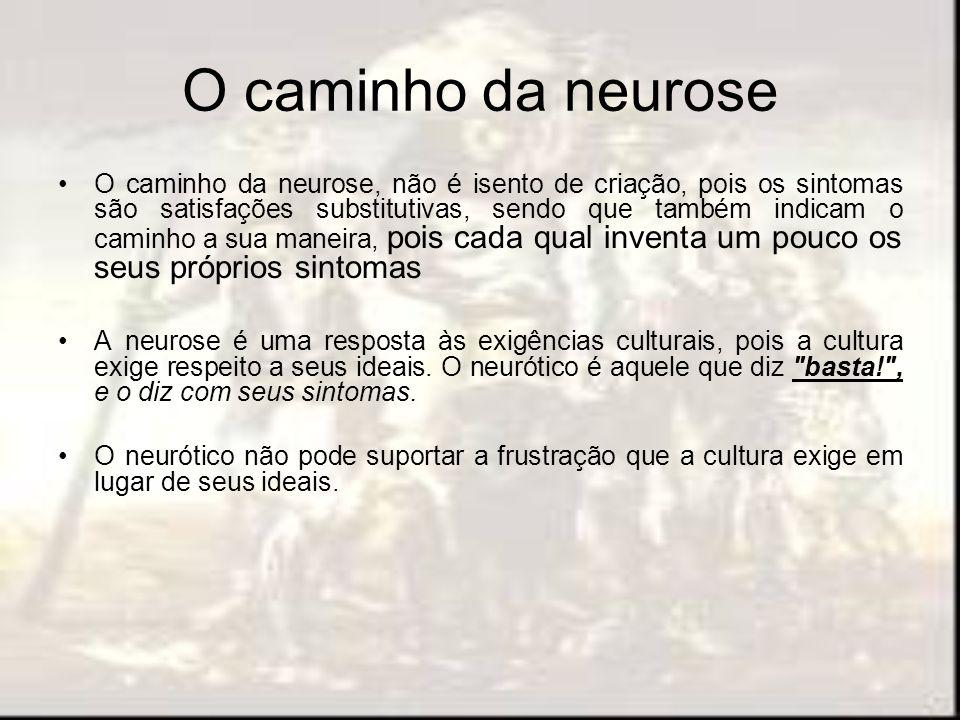 O caminho da neurose O caminho da neurose, não é isento de criação, pois os sintomas são satisfações substitutivas, sendo que também indicam o caminho