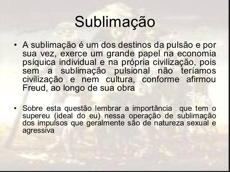 Sublimação A sublimação é um dos destinos da pulsão e por sua vez, exerce um grande papel na economia psíquica individual e na própria civilização, po