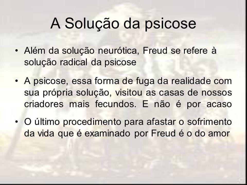 A Solução da psicose Além da solução neurótica, Freud se refere à solução radical da psicose A psicose, essa forma de fuga da realidade com sua própri