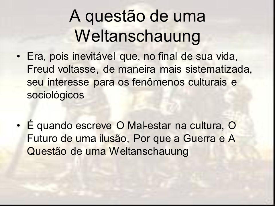 A questão de uma Weltanschauung Era, pois inevitável que, no final de sua vida, Freud voltasse, de maneira mais sistematizada, seu interesse para os f