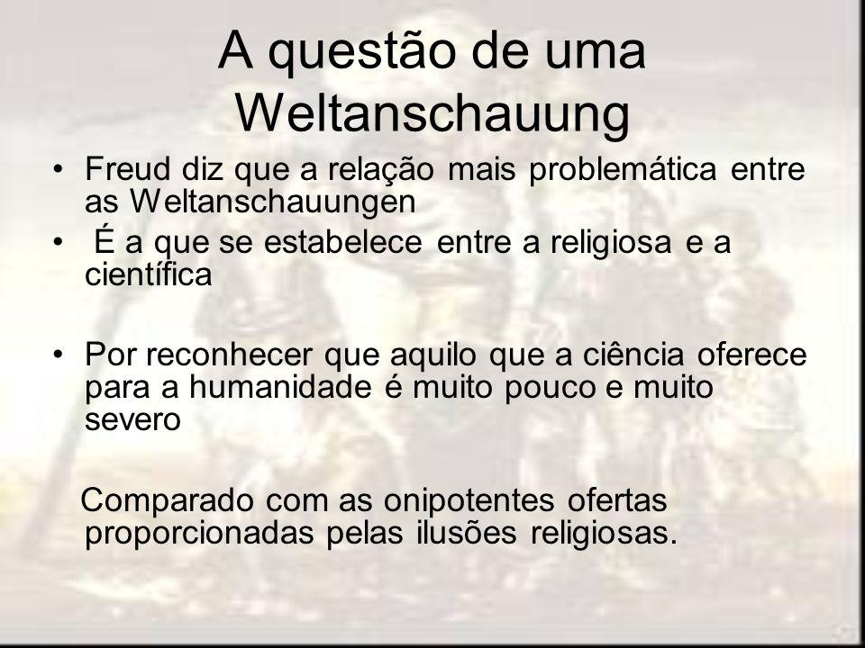 A questão de uma Weltanschauung Freud diz que a relação mais problemática entre as Weltanschauungen É a que se estabelece entre a religiosa e a cientí
