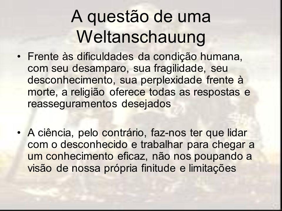 A questão de uma Weltanschauung Frente às dificuldades da condição humana, com seu desamparo, sua fragilidade, seu desconhecimento, sua perplexidade f