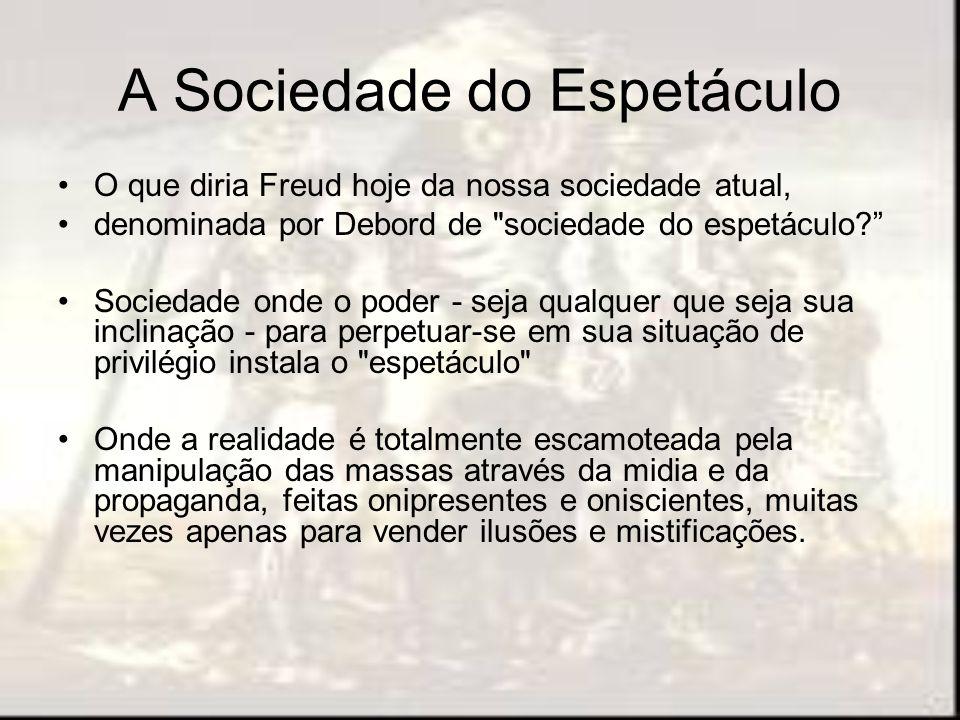 A Sociedade do Espetáculo O que diria Freud hoje da nossa sociedade atual, denominada por Debord de