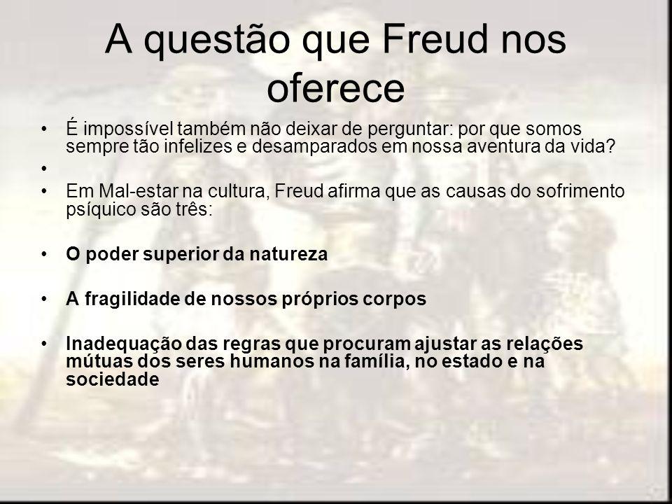 A questão que Freud nos oferece É impossível também não deixar de perguntar: por que somos sempre tão infelizes e desamparados em nossa aventura da vi
