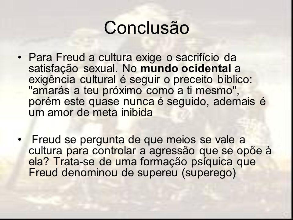 Conclusão Para Freud a cultura exige o sacrifício da satisfação sexual. No mundo ocidental a exigência cultural é seguir o preceito bíblico: