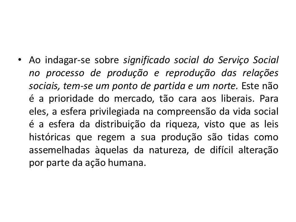 Ao indagar-se sobre significado social do Serviço Social no processo de produção e reprodução das relações sociais, tem-se um ponto de partida e um no
