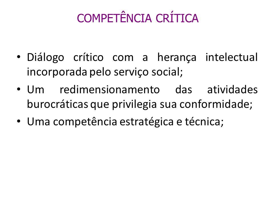 COMPETÊNCIA CRÍTICA Diálogo crítico com a herança intelectual incorporada pelo serviço social; Um redimensionamento das atividades burocráticas que pr