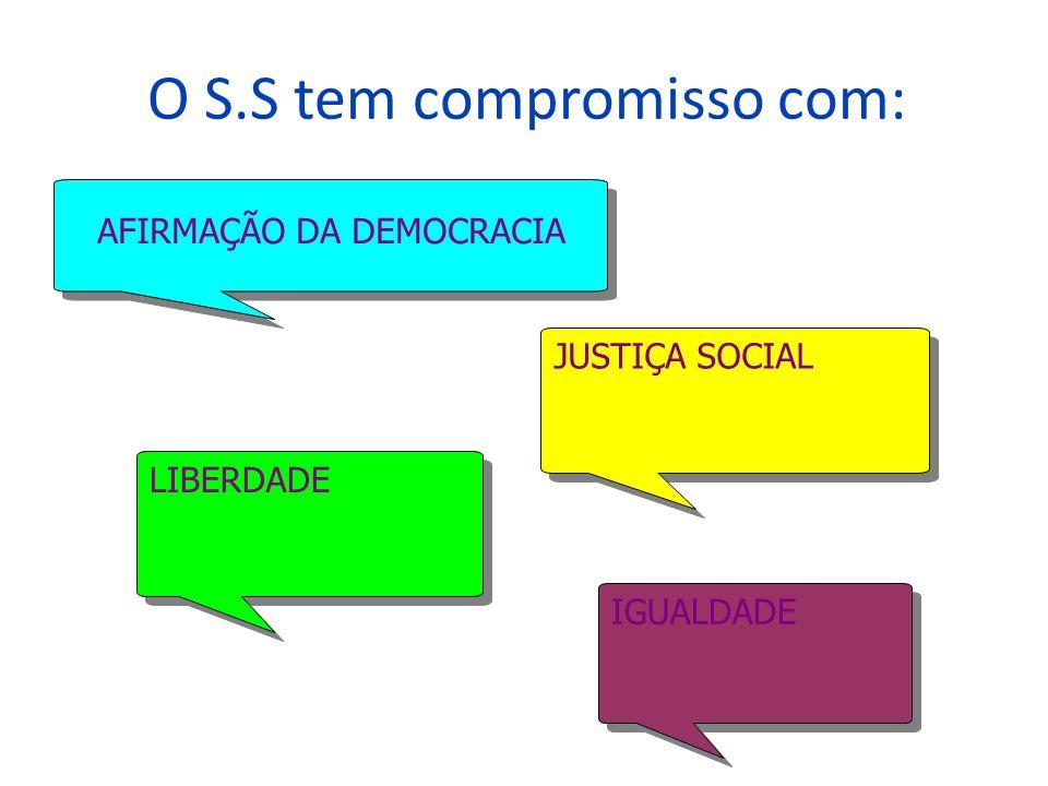 O S.S tem compromisso com: AFIRMAÇÃO DA DEMOCRACIA LIBERDADE JUSTIÇA SOCIAL IGUALDADE