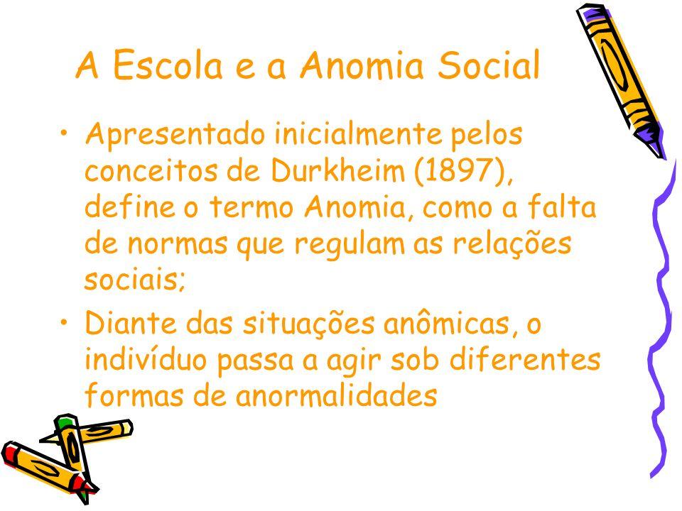 A Escola e a Anomia Social Apresentado inicialmente pelos conceitos de Durkheim (1897), define o termo Anomia, como a falta de normas que regulam as r