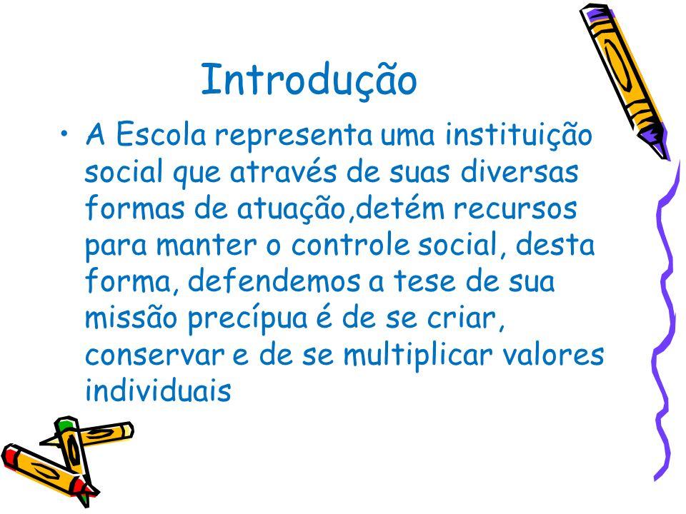 Introdução A Escola representa uma instituição social que através de suas diversas formas de atuação,detém recursos para manter o controle social, des