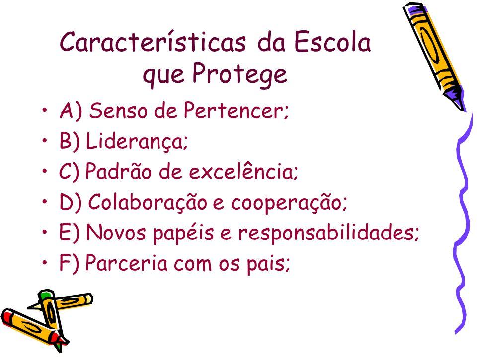 Características da Escola que Protege A) Senso de Pertencer; B) Liderança; C) Padrão de excelência; D) Colaboração e cooperação; E) Novos papéis e res