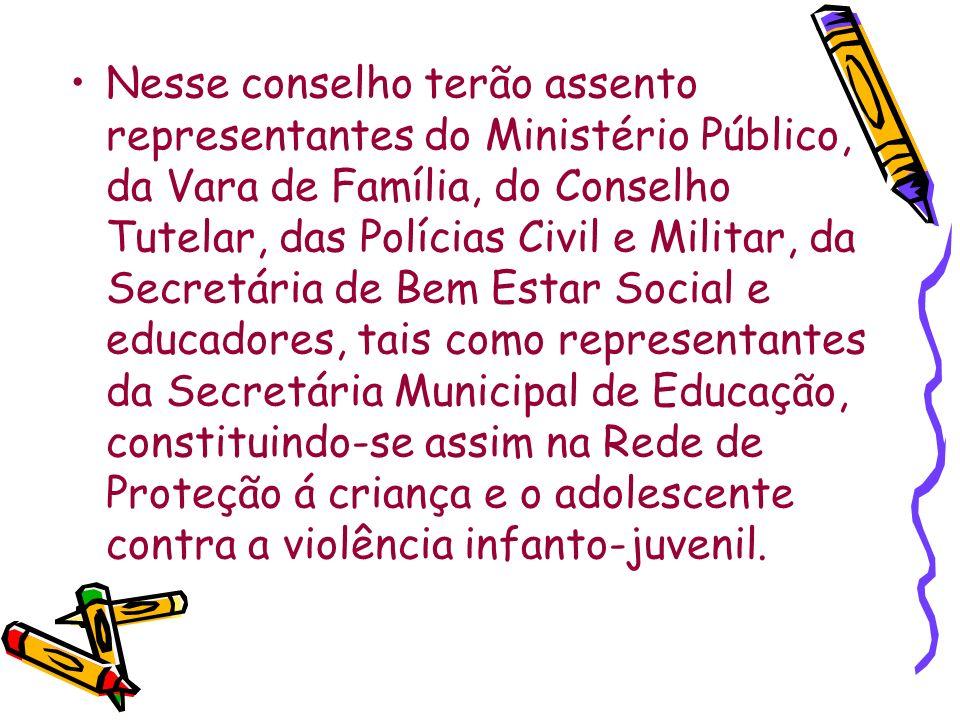 Nesse conselho terão assento representantes do Ministério Público, da Vara de Família, do Conselho Tutelar, das Polícias Civil e Militar, da Secretári