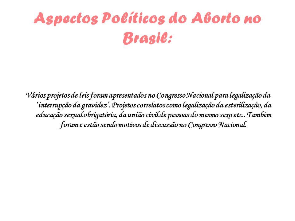 Aspectos Políticos do Aborto no Brasil: Vários projetos de leis foram apresentados no Congresso Nacional para legalização da interrupção da gravidez.