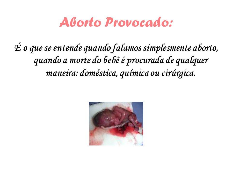 Aborto Provocado: É o que se entende quando falamos simplesmente aborto, quando a morte do bebê é procurada de qualquer maneira: doméstica, química ou