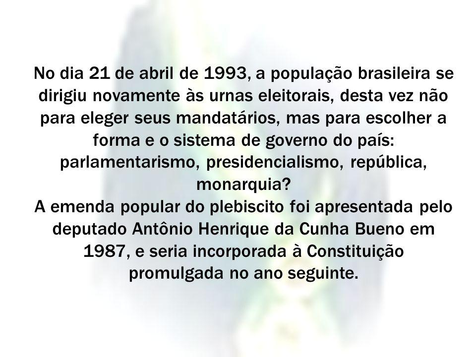 No dia 21 de abril de 1993, a população brasileira se dirigiu novamente às urnas eleitorais, desta vez não para eleger seus mandatários, mas para esco