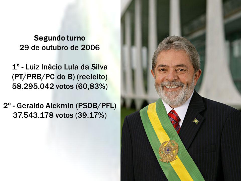 Segundo turno 29 de outubro de 2006 1º - Luiz Inácio Lula da Silva (PT/PRB/PC do B) (reeleito) 58.295.042 votos (60,83%) 2º - Geraldo Alckmin (PSDB/PF