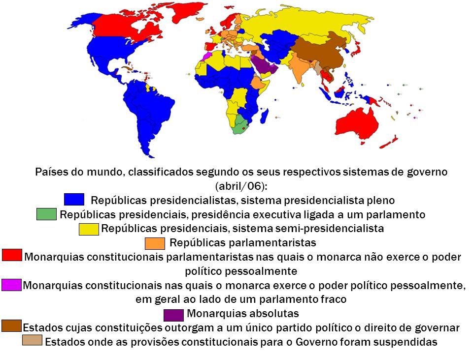 Países do mundo, classificados segundo os seus respectivos sistemas de governo (abril/06): Repúblicas presidencialistas, sistema presidencialista plen