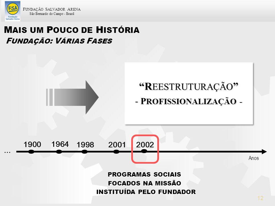 F UNDAÇÃO S ALVADOR A RENA São Bernardo do Campo - Brasil 12 R EESTRUTURAÇÃO R EESTRUTURAÇÃO - P ROFISSIONALIZAÇÃO - R EESTRUTURAÇÃO R EESTRUTURAÇÃO -