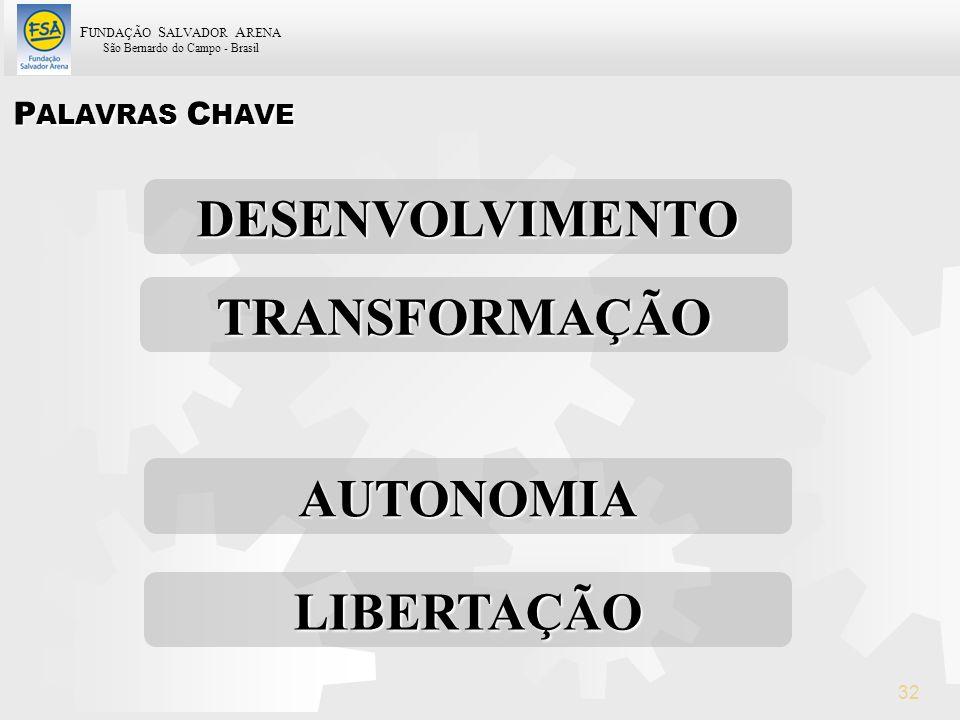 F UNDAÇÃO S ALVADOR A RENA São Bernardo do Campo - Brasil 32 P ALAVRAS C HAVE TRANSFORMAÇÃO DESENVOLVIMENTO AUTONOMIA LIBERTAÇÃO