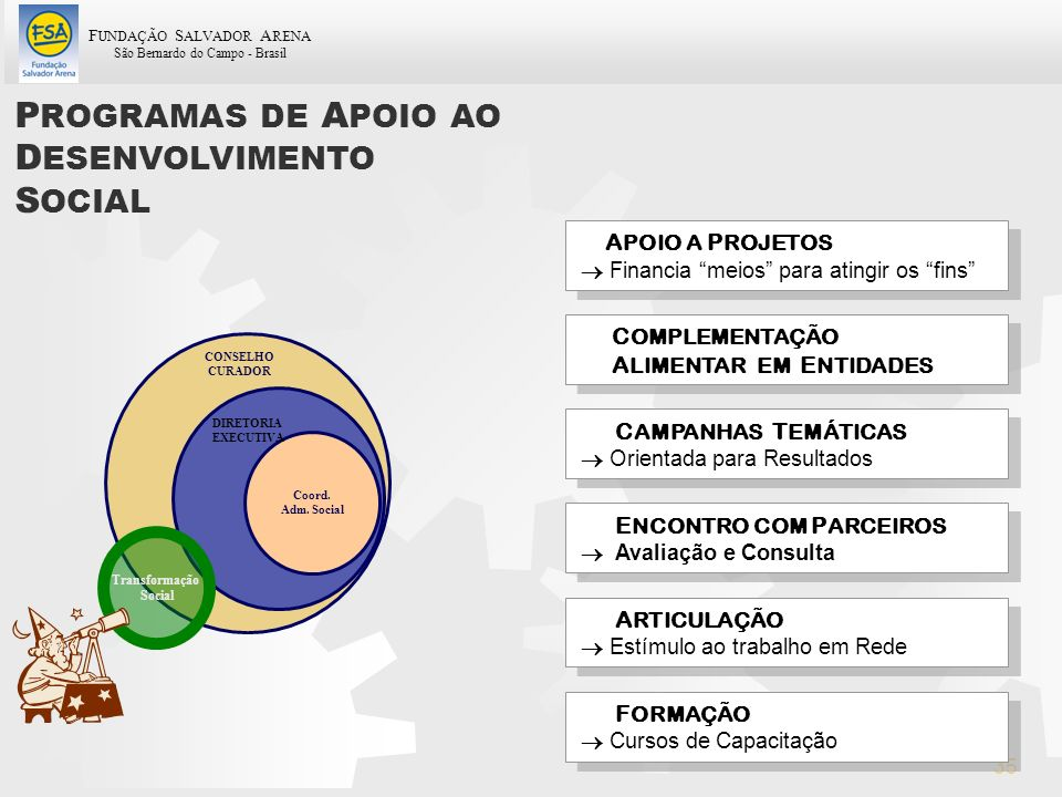 F UNDAÇÃO S ALVADOR A RENA São Bernardo do Campo - Brasil 35 P ROGRAMAS DE A POIO AO D ESENVOLVIMENTO S OCIAL A POIO A P ROJETOS Financia meios para a