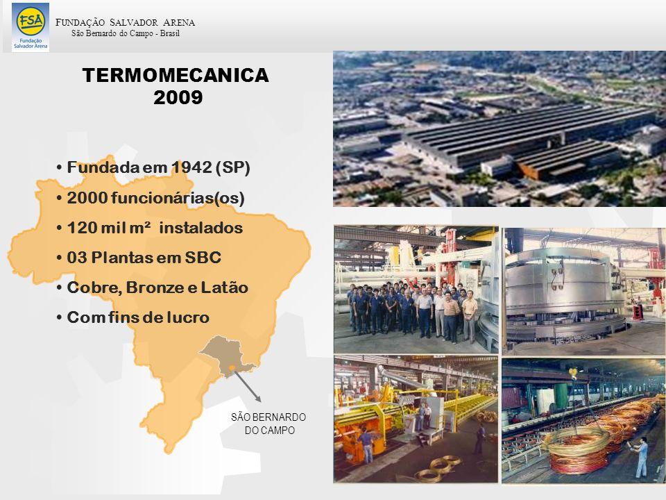 F UNDAÇÃO S ALVADOR A RENA São Bernardo do Campo - Brasil 4 TERMOMECANICA 2009 SÃO BERNARDO DO CAMPO Fundada em 1942 (SP) 2000 funcionárias(os) 120 mi