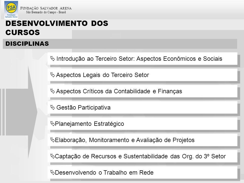 F UNDAÇÃO S ALVADOR A RENA São Bernardo do Campo - Brasil 50 DISCIPLINAS Introdução ao Terceiro Setor: Aspectos Econômicos e Sociais Aspectos Legais d