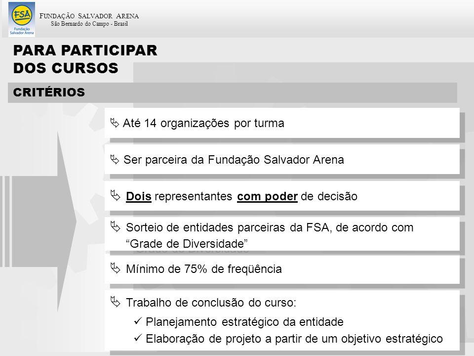 F UNDAÇÃO S ALVADOR A RENA São Bernardo do Campo - Brasil 51 PARA PARTICIPAR DOS CURSOS CRITÉRIOS Ser parceira da Fundação Salvador Arena Dois represe