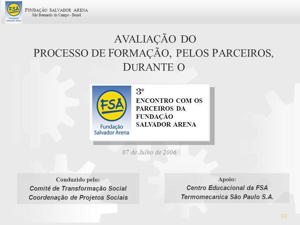 F UNDAÇÃO S ALVADOR A RENA São Bernardo do Campo - Brasil 59 07 de Julho de 2006 3 º ENCONTRO COM OS PARCEIROS DA FUNDAÇÃO SALVADOR ARENA A VALIAÇÃO D