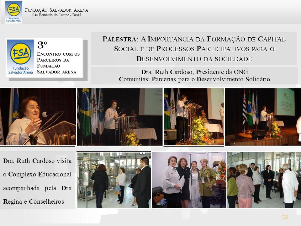 F UNDAÇÃO S ALVADOR A RENA São Bernardo do Campo - Brasil 68 3 º E NCONTRO COM OS P ARCEIROS DA F UNDAÇÃO S ALVADOR ARENA D R Dra. Ruth Cardoso, Presi