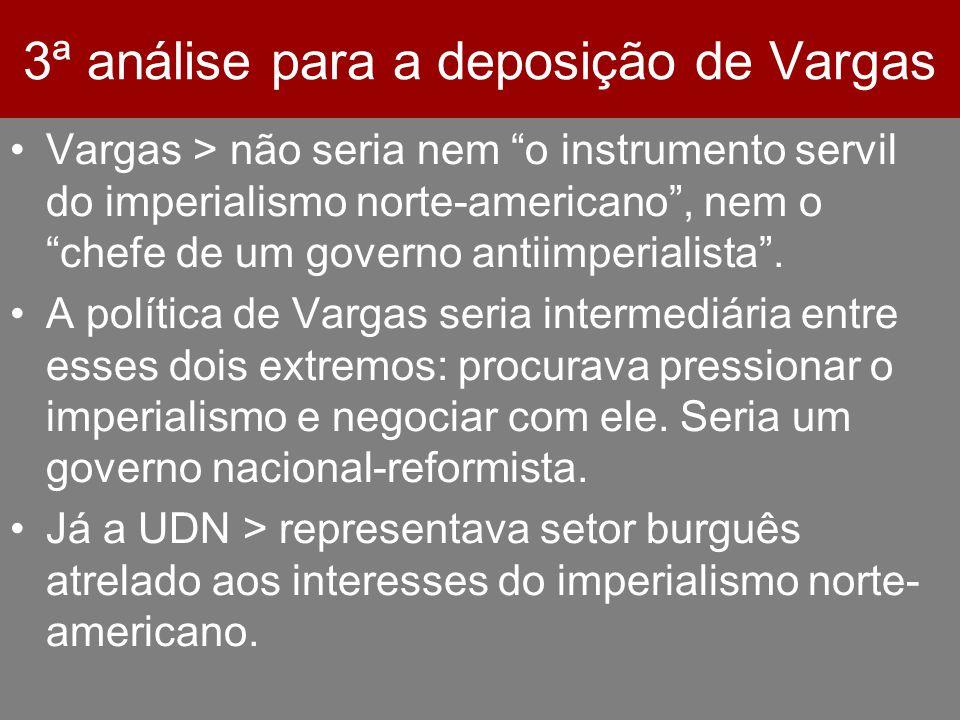 3ª análise para a deposição de Vargas Vargas > não seria nem o instrumento servil do imperialismo norte-americano, nem o chefe de um governo antiimper