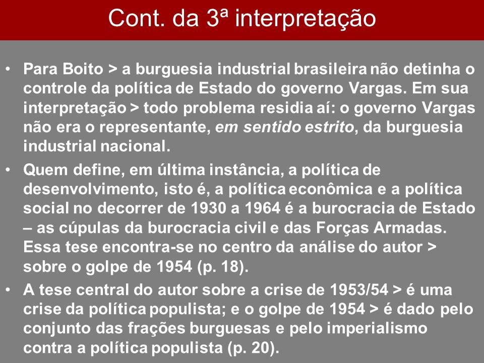 Cont. da 3ª interpretação Para Boito > a burguesia industrial brasileira não detinha o controle da política de Estado do governo Vargas. Em sua interp