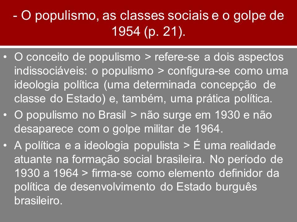 - O populismo, as classes sociais e o golpe de 1954 (p. 21). O conceito de populismo > refere-se a dois aspectos indissociáveis: o populismo > configu