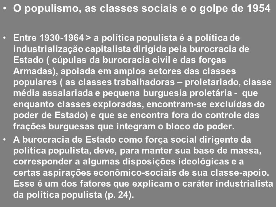 O populismo, as classes sociais e o golpe de 1954 Entre 1930-1964 > a política populista é a política de industrialização capitalista dirigida pela bu
