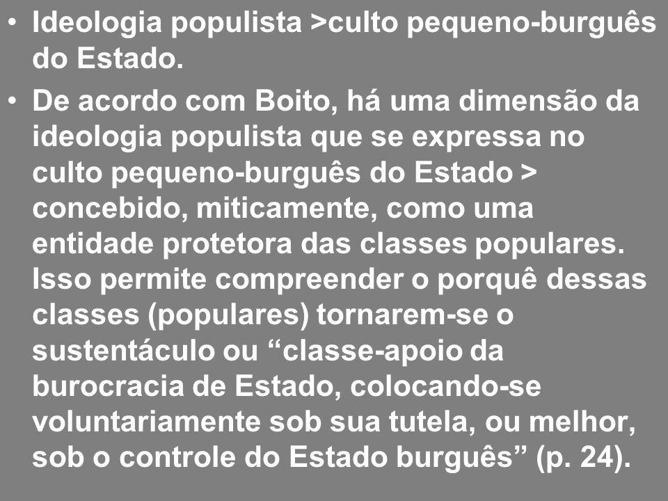 Ideologia populista >culto pequeno-burguês do Estado. De acordo com Boito, há uma dimensão da ideologia populista que se expressa no culto pequeno-bur