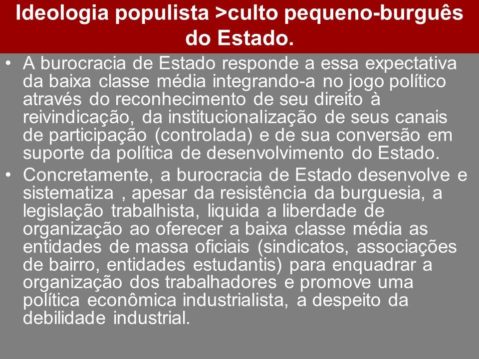 Ideologia populista >culto pequeno-burguês do Estado. A burocracia de Estado responde a essa expectativa da baixa classe média integrando-a no jogo po
