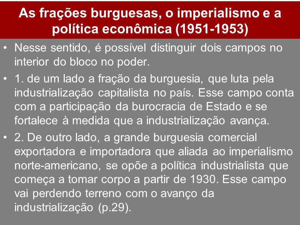 As frações burguesas, o imperialismo e a política econômica (1951-1953) Nesse sentido, é possível distinguir dois campos no interior do bloco no poder