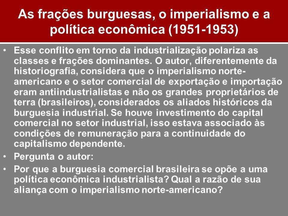 As frações burguesas, o imperialismo e a política econômica (1951-1953) Esse conflito em torno da industrialização polariza as classes e frações domin
