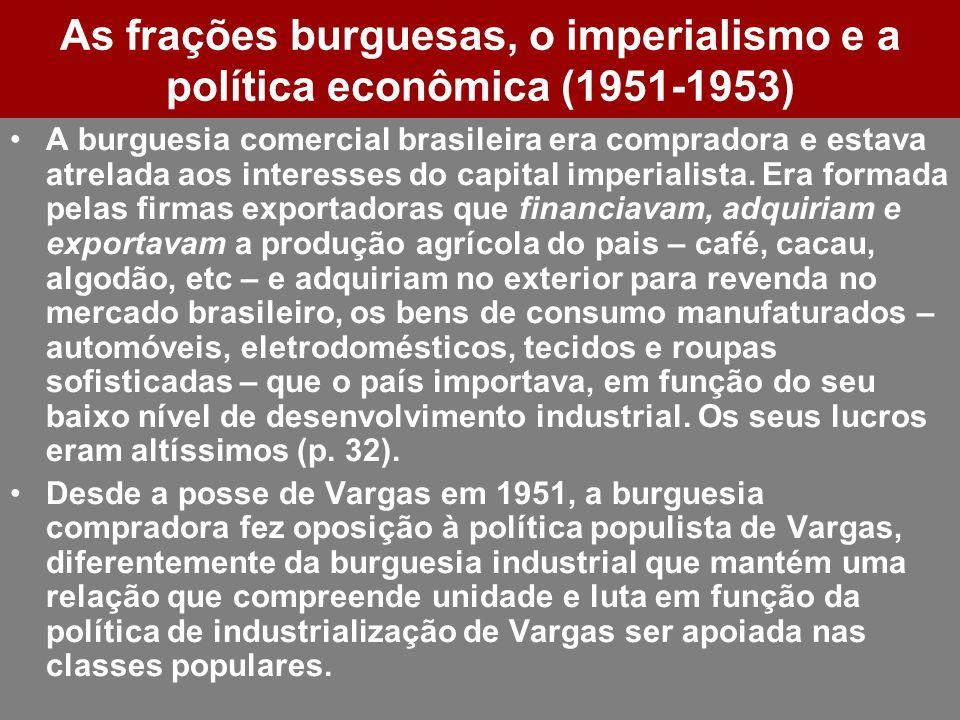 As frações burguesas, o imperialismo e a política econômica (1951-1953) A burguesia comercial brasileira era compradora e estava atrelada aos interess