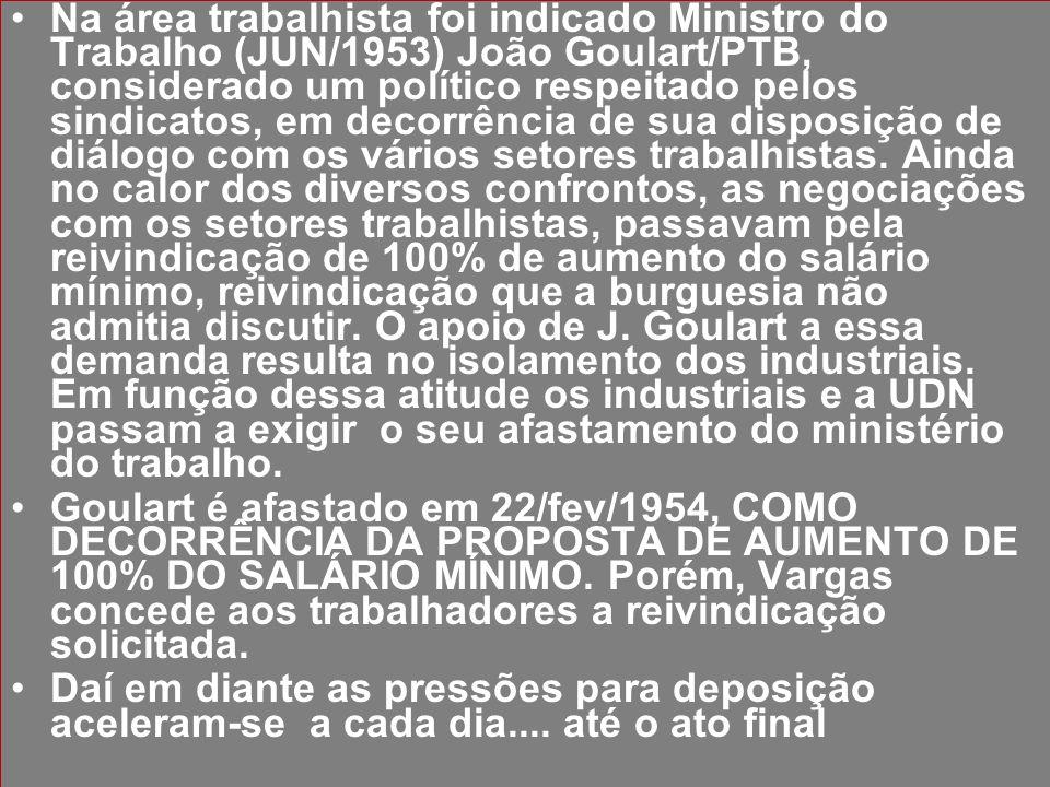 Na área trabalhista foi indicado Ministro do Trabalho (JUN/1953) João Goulart/PTB, considerado um político respeitado pelos sindicatos, em decorrência