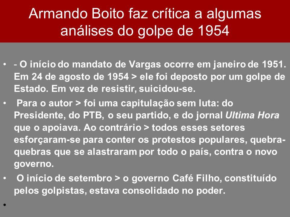 Armando Boito faz crítica a algumas análises do golpe de 1954 - O início do mandato de Vargas ocorre em janeiro de 1951. Em 24 de agosto de 1954 > ele
