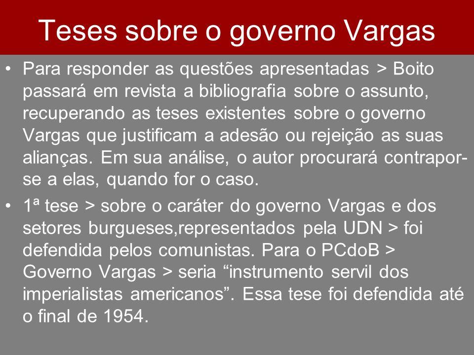 Teses sobre o governo Vargas Para responder as questões apresentadas > Boito passará em revista a bibliografia sobre o assunto, recuperando as teses e