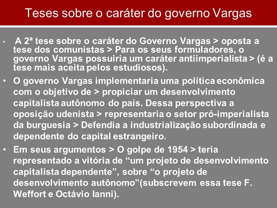 Teses sobre o caráter do governo Vargas A 2ª tese sobre o caráter do Governo Vargas > oposta a tese dos comunistas > Para os seus formuladores, o gove