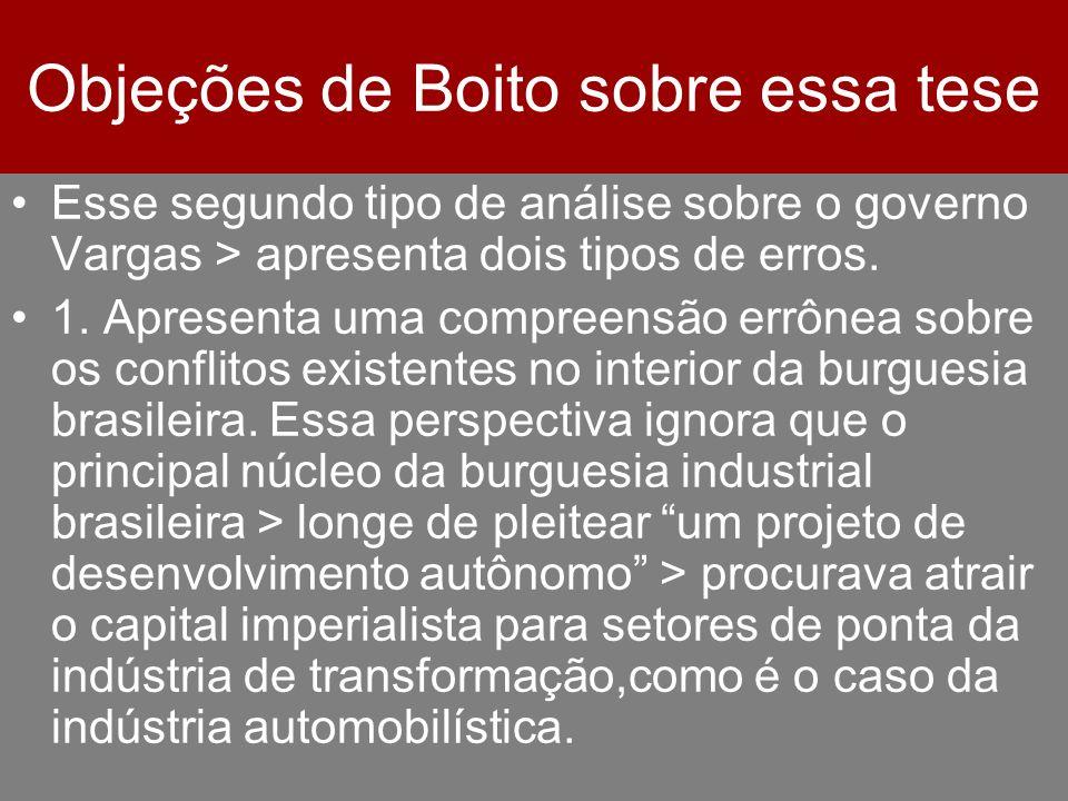 Objeções de Boito sobre essa tese Esse segundo tipo de análise sobre o governo Vargas > apresenta dois tipos de erros. 1. Apresenta uma compreensão er