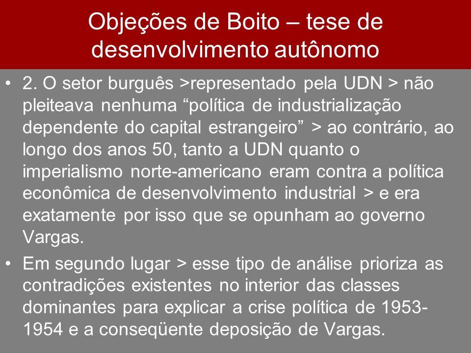 Objeções de Boito – tese de desenvolvimento autônomo 2. O setor burguês >representado pela UDN > não pleiteava nenhuma política de industrialização de